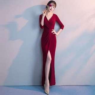 Wine red elegant open slit dress / evening gown