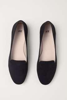 H&M Black Suede Ballerina Loafers - 6.5US