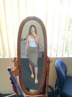 Bardot Midi Skirt - Khaki