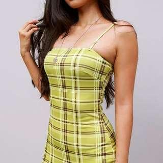 Checkered Green Bodycon Dress