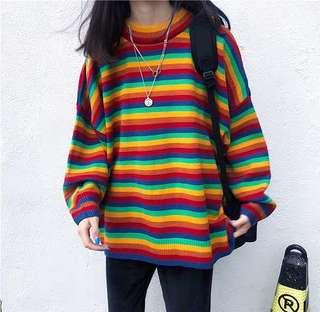 Rainbow Stripes Oversized Knitted Sweater