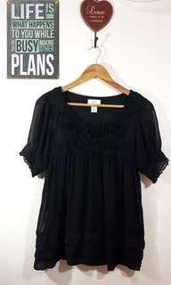 Black Blouse with Floral design