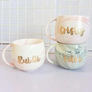 Customisable cup calligraphy Husband farewell valentines Day gift gifts present presents Friend birthday Mugs Mug Boyfriend Girlfriend office customised valentine couple Colleagues Colleague Personalised corporate cups valentine's wedding marble Wife