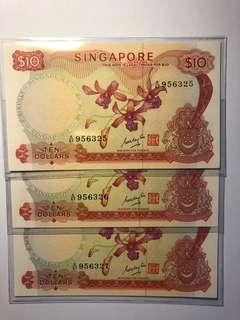 3 run of Singapore orchid series $10 GKS UNC