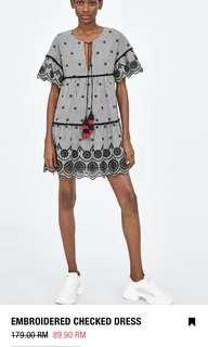 BNWT Zara Embroidery Mini Dress