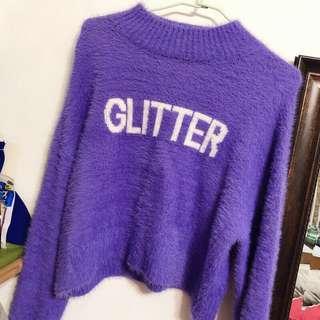 全新 Bershka短版高領毛衣 紫色英文字母