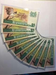 10 run of Singapore Bird series $5 A/1 First Prefix UNC