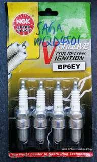 NGK spark plug set of 4 BP6EY for Saga