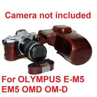 "🚚 $35 only, New, PVC Leather case cover for OLYMPUS E-M5 EM5 OMD OM-D Camera ""Coffee"" color"