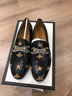 Gucci金線刺繡蜜蜂樂福鞋 35.5