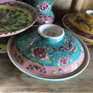 Peranakan bowl with lid dish Phoenix peony soup vintage antique porcelain