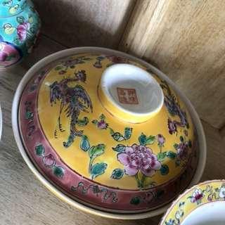 Peranakan porcelain bowl lid yellow Phoenix peony dish soup food serving