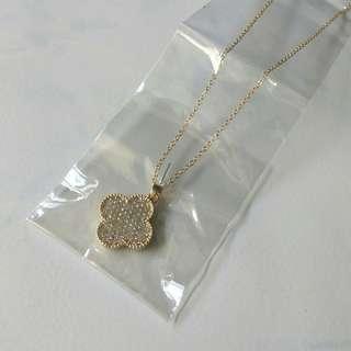 Red's Revenge Diamante Chanel Floral Charm Pendant Necklace
