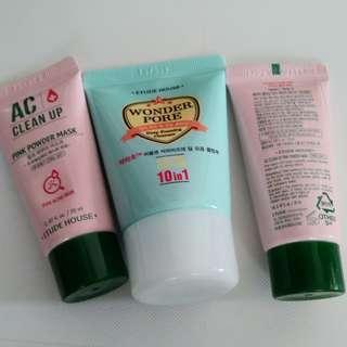 Etude House foam cleanser PINK Powder Mask x2 磨沙洗面面膜 共3支 包郵