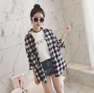 Brown Checkered Outerwear  #JAN55