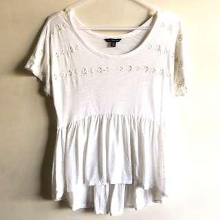 American Eagle Outfitters embroidered peplum tee