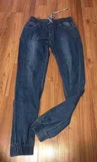 Cotton denim look pants