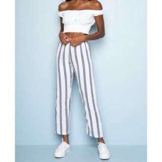 🚚 Frankie Pants White with Blue Stripes