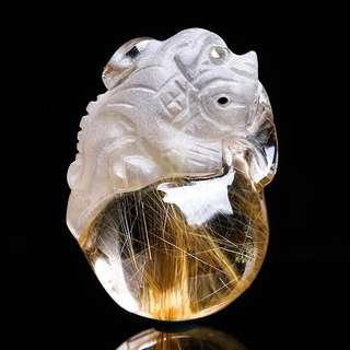 🚚 天然钛晶招财貔貅吊坠 Brazil tourmalinated quartz Pi Xiu