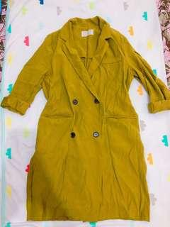 Army Green Longsleeve Coat Dress with Pockets (worn once) (GOOD AS NEW)