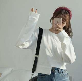 White cropped sweatshirt