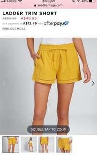Seed heritage - ladder trim shorts - yellow/mustard - size XS - BNWT