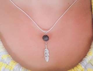 Essential Oil Feather Lava Stone Necklace, Essential Oil Diffuser, Feather Pendant, Aromatherapy