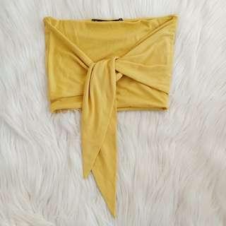 Mustard/yellow Bandeau knot top