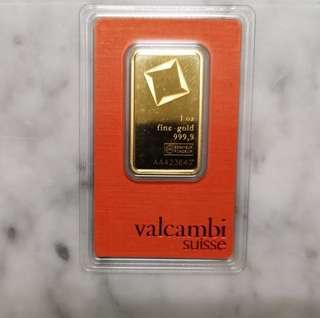 Valcambi Suisse 1 oz Gold Bar