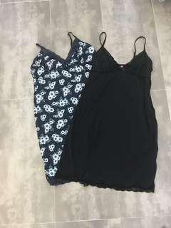 2x Black and Floral Lace Night dress