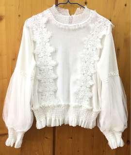 白色 上衣 日本 通花 lace 絲絨