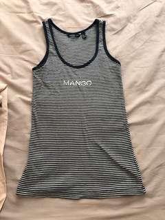 Branded mango tank TOP stripe blue size s not Zara