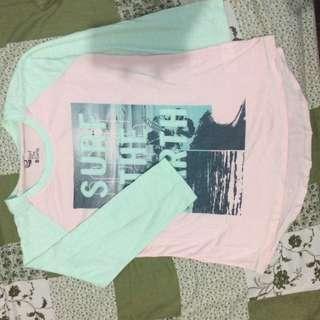 Kaos Surf The Earth Biru Tosca Pink