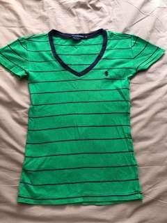 Branded polo Ralph Lauren sports shirt stripe green