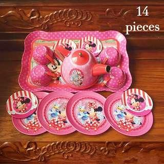 (T10) 14pcs Minnie Mickey Mouse Daisy Donald Duck Princess Baby Girl Stainless Steel Afternoon Tea Dessert Cake Teapot Teacups Cooking Toy in Disney Box Set