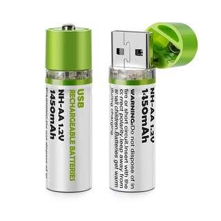 AA Rechargeable battery that has USB charging available - 2019 Innovation best design. Plug into any USB for Charging 1450MaH