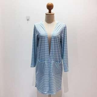 🆕BRAND NEW Striped Cotton Blue Long Cardigan