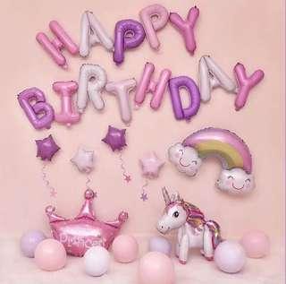 [In Stock] Unicorn rainbows purple pink white party theme happy birthday foil balloon