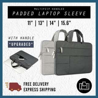 🚚 🔅cT🔅 MZIPU Laptop Cover multi zip Sleeve inner padded handle carry laptop case HANDLED DARK GREY LIGHT GREY
