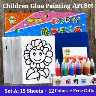 (SetA) 12Colors 15Sheets with Free Gifts Window Glue Art and Craft Children Baby Book Painting Sand Paper Art Educational Montessori Toy Set