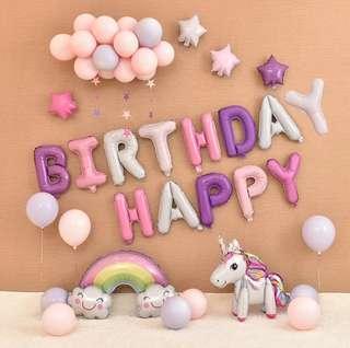 [In Stock] Unicorn rainbow stars purple pink white party happy birthday foil balloon