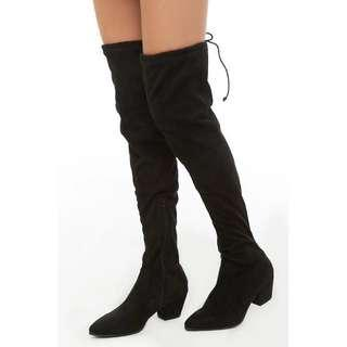Faux Suede Over-the-Knee Sock Boot - 37