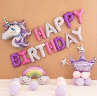 [In Stock] Unicorn rainbow stars purple pink white party theme happy birthday foil balloon