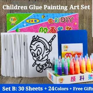 (SetB) 24Colors 30Sheets with Free Gifts Window Glue Art and Craft Children Baby Book Painting Sand Paper Art Educational Montessori Toy Set