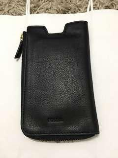 Fossil leather black phone slide pouch