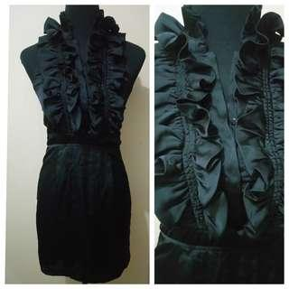 WA1032 Esly Black Ruffled Backless Coctail Dress - GUC