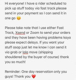 SHIPPING UPDATE