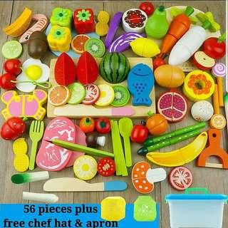 56pcs Wooden Magnetic Cutting Fruits Vegetable Children Baby Kitchen Cooking Educational Toy