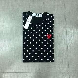 XL CDG PLAY POLKADOT LONGSLEEVE (BLACK)