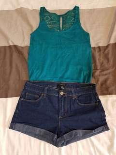 Sleeveless Top and Maong Shorts Pair
